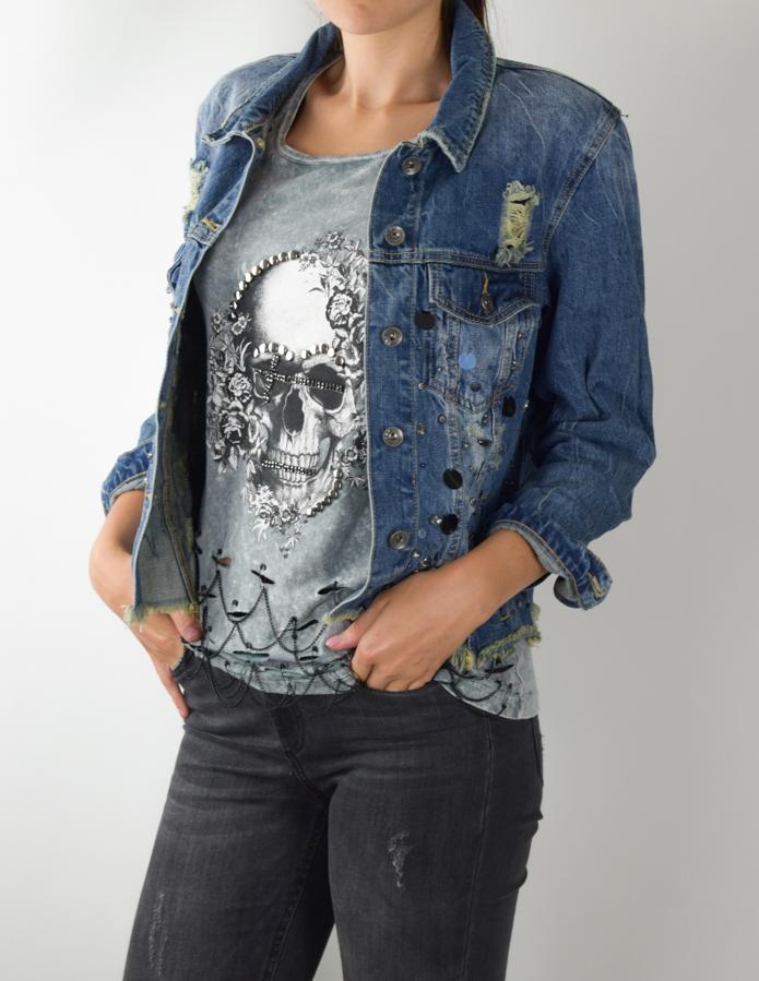 Jeansjacke Spiegelpailletten-0